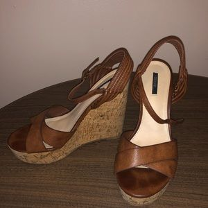 Brown and tan wedges